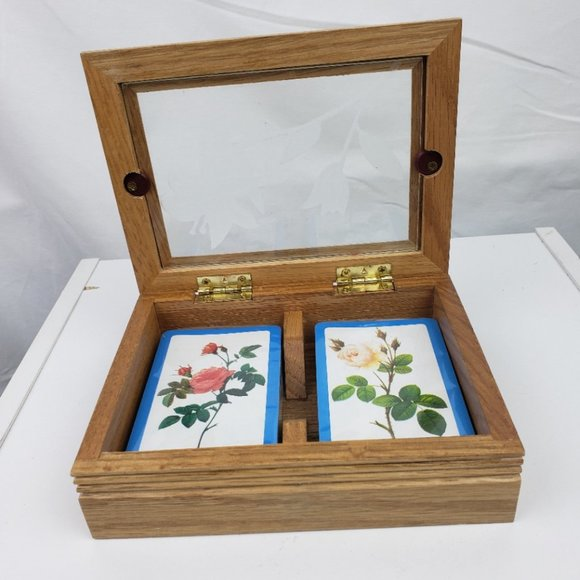 Card Set with Etched Glass Wood Case NWT